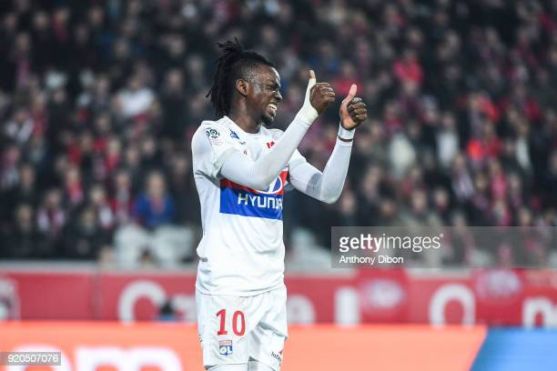 Bertrand Traore of Lyon during the Ligue 1 match between Lille OSC and Olympique Lyonnais at Stade Pierre Mauroy on February 18 2018 in Lille