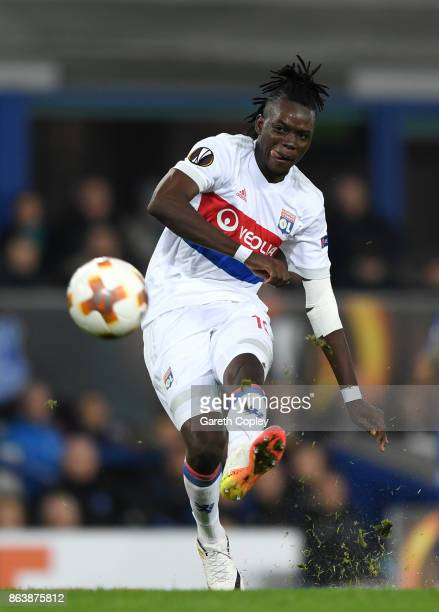 Bertrand Traore of Lyon during the UEFA Europa League group E match between Everton FC and Olympique Lyon at Goodison Park on October 19 2017 in...
