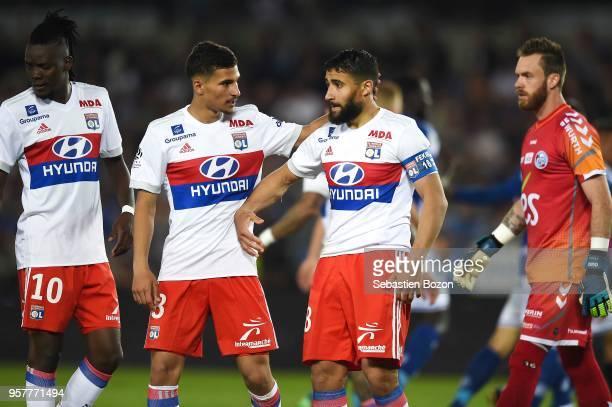 Bertrand Traore of Lyon Houssem Aouar of Lyon and Nabil Fekir of Lyon during the Ligue 1 match between Strasbourg and Lyon at Stade de la Meinau on...