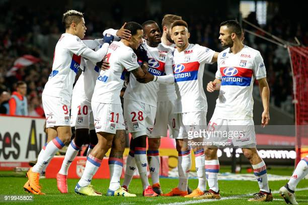 Bertrand Traore of Olympique Lyon celebrates 01 with Mariano Diaz of Olympique Lyon Memphis Depay of Olympique Lyon Tanguy Ndombele Alvaro of...