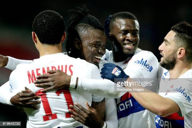 Bertrand Traore of Olympique Lyon celebrates 01 with Memphis Depay of Olympique Lyon Tanguy Ndombele Alvaro of Olympique Lyon Jordan Ferri of...