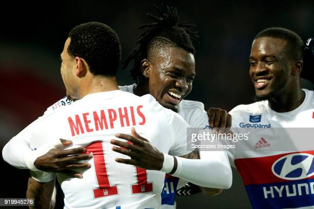 Bertrand Traore of Olympique Lyon celebrates 01 with Memphis Depay of Olympique Lyon Tanguy Ndombele Alvaro of Olympique Lyon during the French...