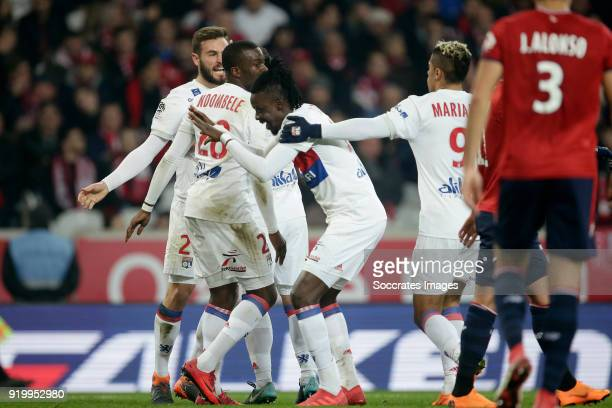 Bertrand Traore of Olympique Lyon celebrates 02 with Lucas Tousart of Olympique Lyon Tanguy Ndombele Alvaro of Olympique Lyon Mariano Diaz of...