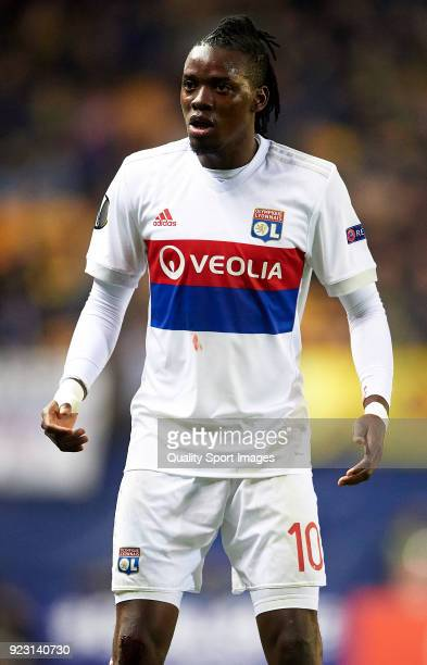 Bertrand Traore of Olympique Lyon looks on during UEFA Europa League Round of 32 match between Villarreal and Olympique Lyon at the Estadio de la...