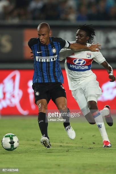 Bertrand Traore of Olympique Lyonnais competes for the ball with Jeison Murillo of FC Internationale during the 2017 International Champions Cup...