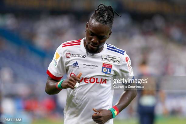 Bertrand Traore of Olympique Lyonnais looks on during the French League Cup final between Paris Saint Germain and Olympique Lyonnais at Stade de...
