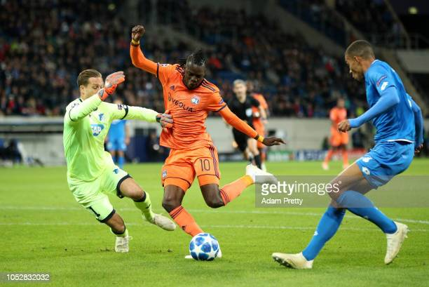 Bertrand Traore of Olympique Lyonnais scores his team's first goal during the Group F match of the UEFA Champions League between TSG 1899 Hoffenheim...