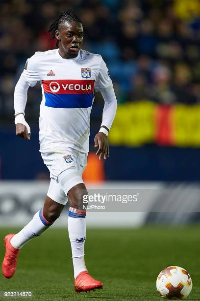 Bertrand Traore of Olympique Lyonnais with the ball during the UEFA Europa League round of 32 second leg match between Villarreal CF and Olympique...