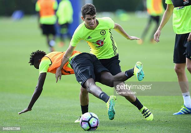 Bertrand Traore, Oscar during a Chelsea training session at Chelsea Training Ground on July 12, 2016 in Cobham, England.
