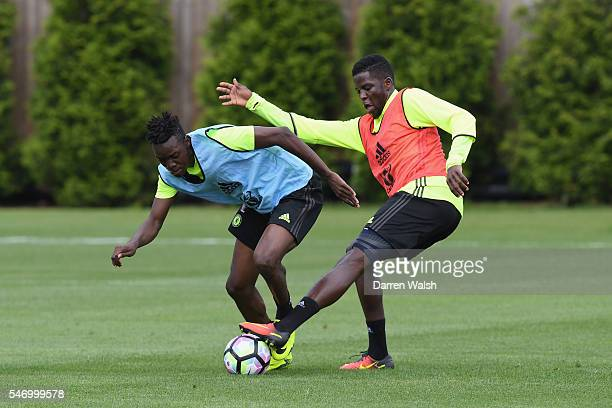 Bertrand Traore Papy Djilobodji at Chelsea Training Ground on July 13 2016 in Cobham England