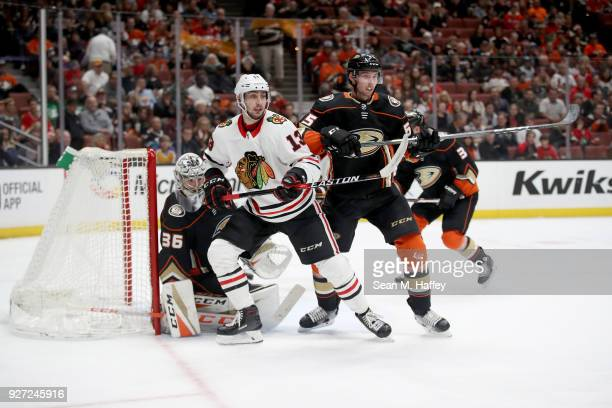 Berube and Tomas Jurco of the Chicago Blackhawks battles Marcus Pettersson of the Anaheim Ducks for position during the second period of a game at...
