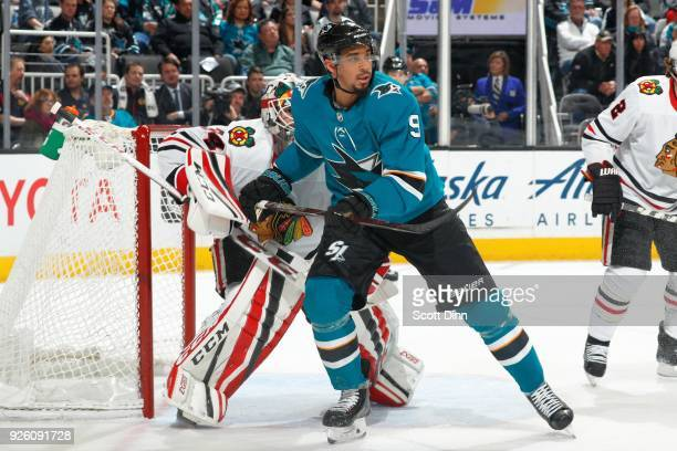 Berube of the Chicago Blackhawks defends Evander Kane of the San Jose Sharks at SAP Center on March 1 2018 in San Jose California