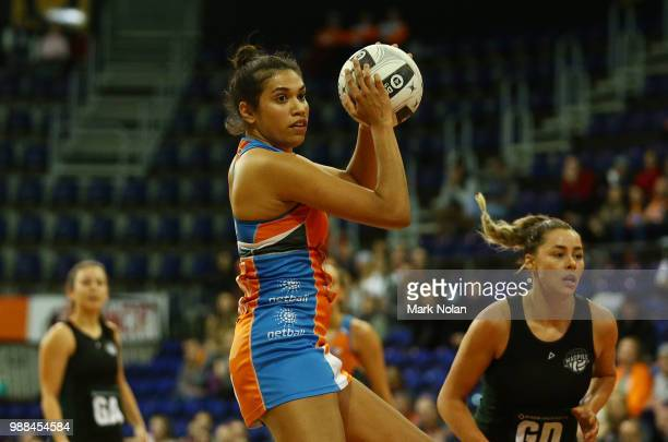 Beryl Friday of the Giants in action during the Australian Netball League grand final between the Tasmanian Magpies and the Canberra Giants at AIS...