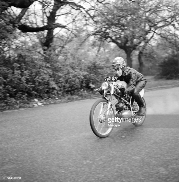 Beryl Swain, housewife and motorcycle road racer from London, she will be competing in this years Isle of Man TT 50cc Ultra-Lightweight Class,...