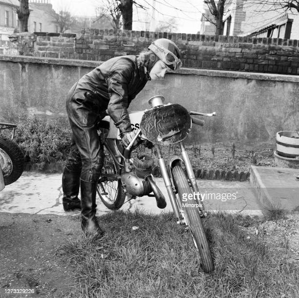 Beryl Swain, housewife and motorcycle road racer from Walthamstow, London, she will be competing in this years Isle of Man TT 50cc Ultra-Lightweight...