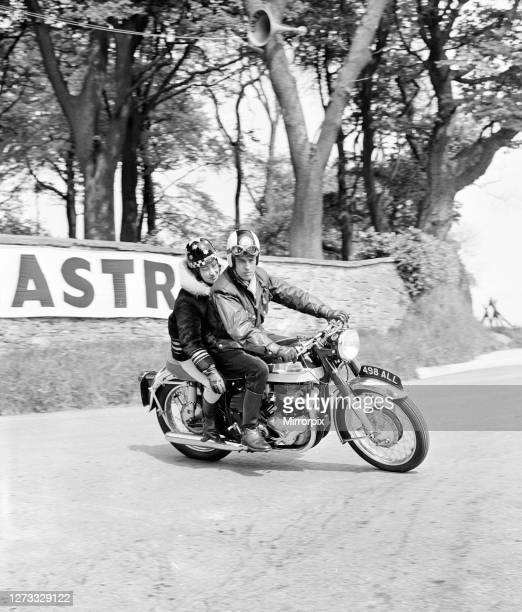 Beryl Swain, motorcycle road racer and the first woman to compete solo in a TT road race on the Isle of Man course, she competed in the 50cc...