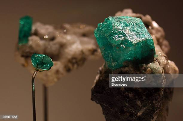 Beryl variety emeralds from Colombia and Russia are on display at the Natural History Museum's new permanent gallery ''The Vault'' in London UK on...