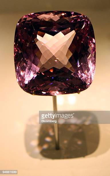 A beryl variety morganite on display at the Natural History Museum's new permanent gallery ''The Vault'' in London UK on Tuesday Nov 27 2007 Pink...