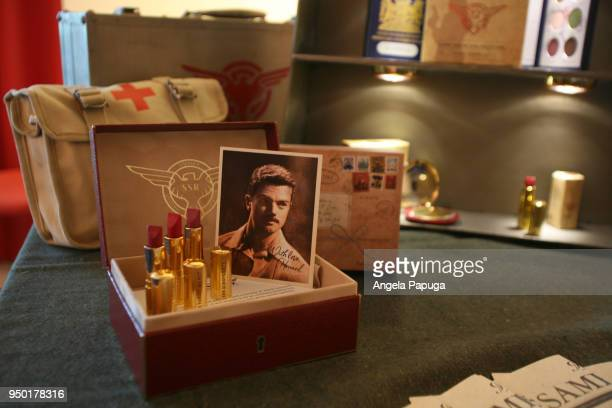 Besame Cosmetics' 1946 Agent Carter collection on display in the Blue Sky Suite during Dapper Day Expo 2018 at Disneyland Hotel on April 21 2018 in...