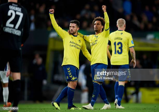 Besar Halimi and Hany Mukhtar of Brondby IF celebrate after scoring their first goal during the Danish Superliga match between Brondby IF and OB...