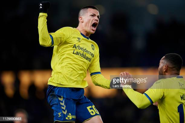 Besar Halimi and Kamil Wilczek of Brondby IF celebrate after scoring their second goal during the Danish Superliga match between Brondby IF and AaB...