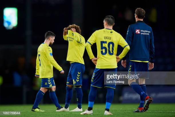 Besar Halimi Hany Mukhtar Ante Erceg and Benedikt Rocker of Brondby IF looking dejected after the Danish Superliga match between Brondby IF and OB...