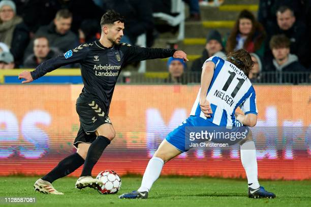 Besar Halimi in action during the Danish Superliga match between OB Odense and Brondby IF at Nature Energy Park on March 03 2019 in Odense Denmark