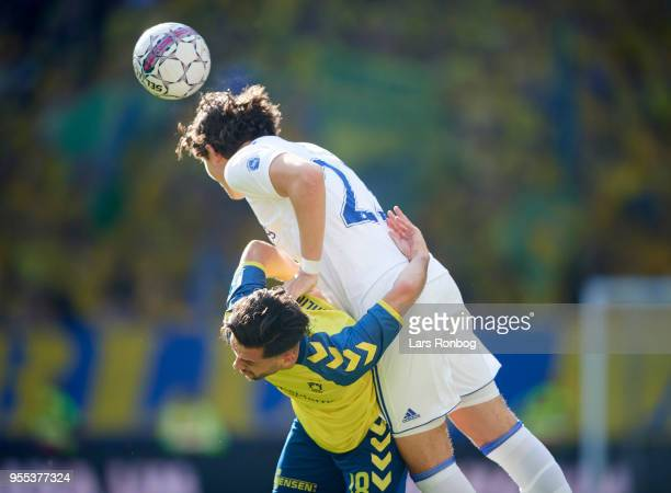 Besar Halimi of Brondby IF and Jonas Wind of FC Copenhagen compete for the ball during the Danish Alka Superliga match between FC Copenhagen and...