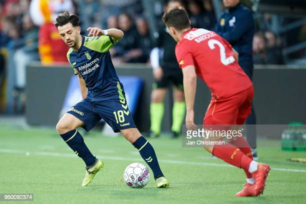 Besar Halimi of Brondby IF and Karlo Bartolec of FC Nordsjalland compete for the ball during the Danish Alka Superliga match between FC Nordsjalland...
