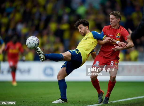 Besar Halimi of Brondby IF and Magnus Kofod Andersen of FC Nordsjælland compete for the ball during the Danish Alka Superliga match between Brondby...