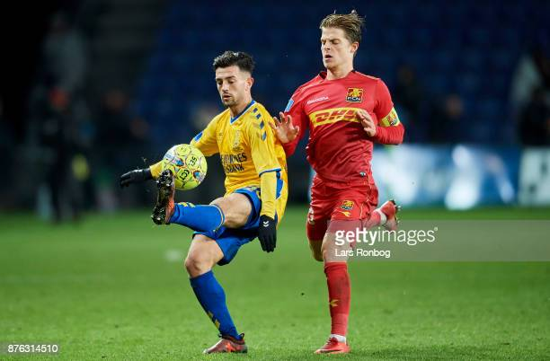 Besar Halimi of Brondby IF and Mathias Jensen of FC Nordsjalland compete for the ball during the Danish Alka Superliga match between Brondby IF and...