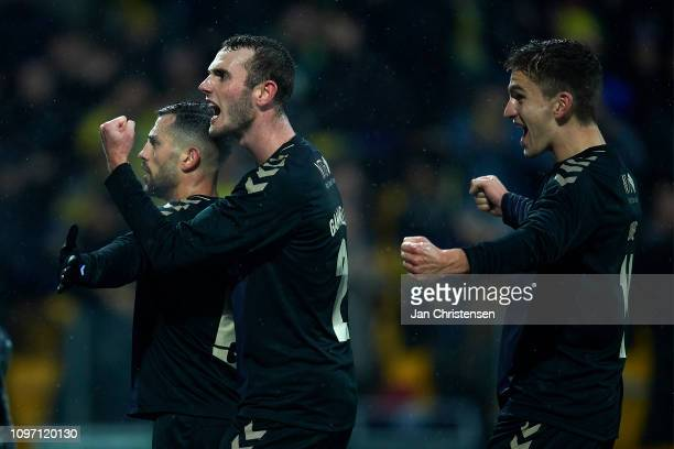 Besar Halimi of Brondby IF and teammates celebrate his 11 goal during the Danish Superliga match between FC Nordsjalland and Brondby IF at Right to...