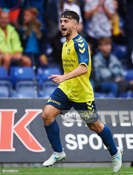 Besar Halimi of Brondby IF celebrates after scoring their fourth goal during the Danish Alka Superliga match between Brondby IF and Lyngby BK at...