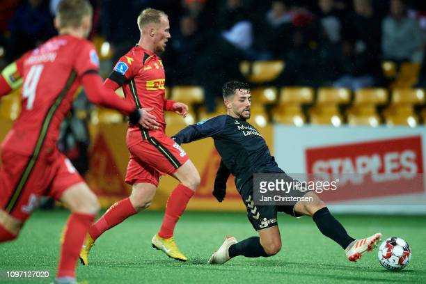 Besar Halimi of Brondby IF compete for the ball during the Danish Superliga match between FC Nordsjalland and Brondby IF at Right to Dream Park on...