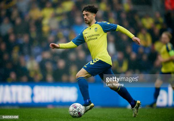 Besar Halimi of Brondby IF controls the ball during the Danish Alka Superliga match between Brondby IF and FC Copenhagen at Brondby Stadion on April...