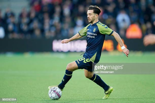 Besar Halimi of Brondby IF controls the ball during the Danish Alka Superliga match between FC Nordsjalland and Brondby IF at Right to Dream Park on...
