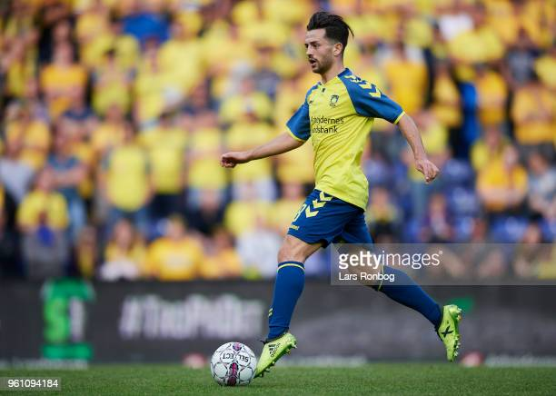 Besar Halimi of Brondby IF controls the ball during the Danish Alka Superliga match between Brondby IF and AaB Aalborg at Brondby Stadion on May 21...