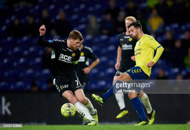 Besar Halimi of Brondby IF controls the ball during the Danish Superliga match between Brondby IF and AC Horsens at Brondby Stadion on September 30...