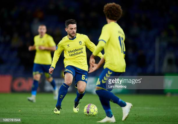 Besar Halimi of Brondby IF controls the ball during the Danish Superliga match between Brondby IF and OB Odense at Brondby Stadion on October 22 2018...