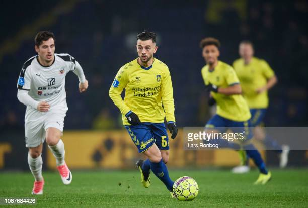 Besar Halimi of Brondby IF controls the ball during the Danish Superliga match between Brondby IF and Hobro IK at Brondby Stadion on December 2 2018...