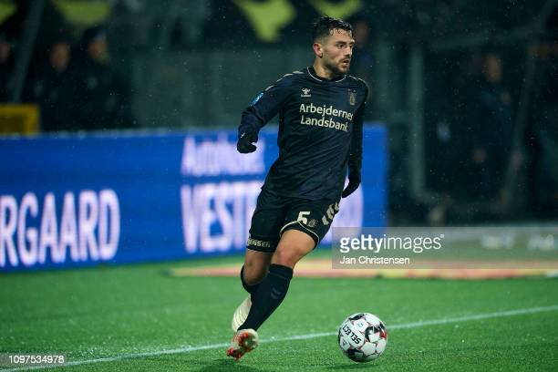 Besar Halimi of Brondby IF controls the ball during the Danish Superliga match between FC Nordsjalland and Brondby IF at Right to Dream Park on...