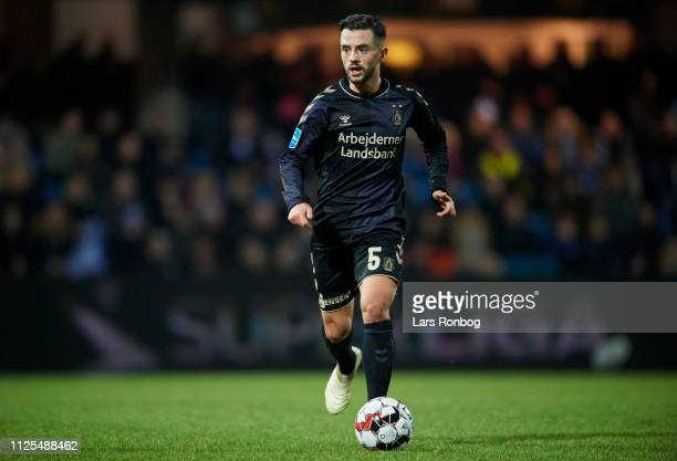 Besar Halimi of Brondby IF controls the ball during the Danish Superliga match between Esbjerg fB and Brondby IF at Blue Water Arena on February 17...