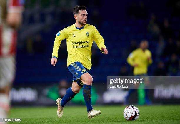 Besar Halimi of Brondby IF controls the ball during the Danish Superliga match between Brondby IF and AaB Aalborg at Brondby Stadion on March 10 2019...