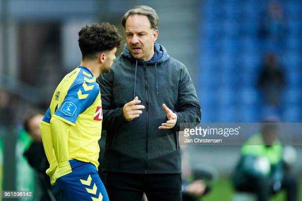 Besar Halimi of Brondby IF get instructions from Alexander Zorniger head coach of Brondby IF during the Danish DBU Pokalen Cup Semifinal match...
