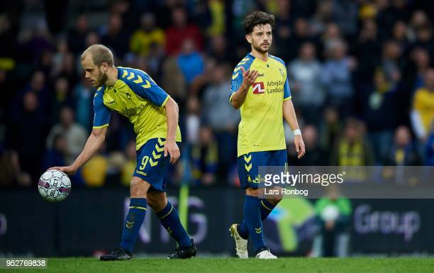 Besar Halimi of Brondby IF gives the ball to Teemu Pukki of Brondby IF during the Danish Alka Superliga match between Brondby IF and FC Nordsjalland...