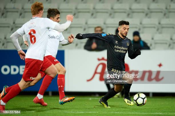 Besar Halimi of Brondby IF in action during the Danish Cup Sydbank Pokalen match between BK Marienlyst and Brondby IF at Nature Energy Park on...