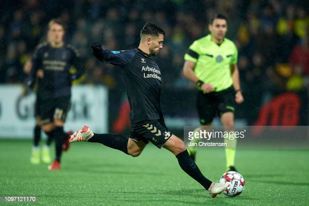 Besar Halimi of Brondby IF in action during the Danish Superliga match between FC Nordsjalland and Brondby IF at Right to Dream Park on February 10...