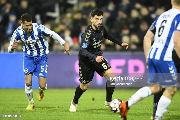 Besar Halimi of Brondby IF in action during the Danish Superliga match between OB Odense and Brondby IF at Nature Energy Park on March 03 2019 in...