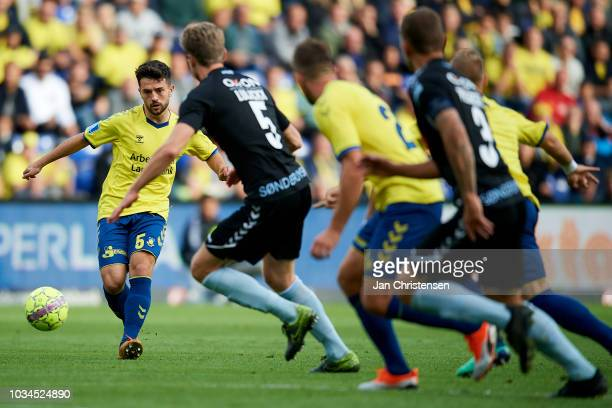 Besar Halimi of Brondby IF in action during the Danish Superliga match between Brondby IF and SonderjyskE at Brondby Stadion on September 16 2018 in...