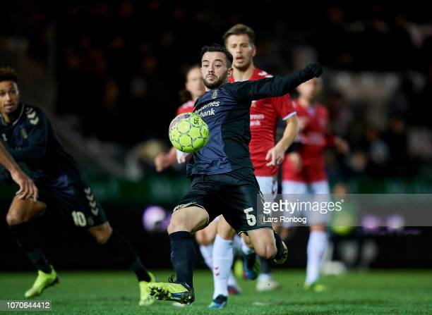 Besar Halimi of Brondby IF in action during the Danish Superliga match between Vejle BK and Brondby BK at Vejle Stadion on December 9 2018 in Brondby...